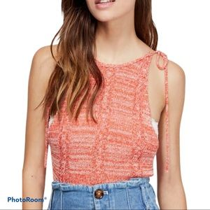 NWT FREE PEOPLE orange knitted tank